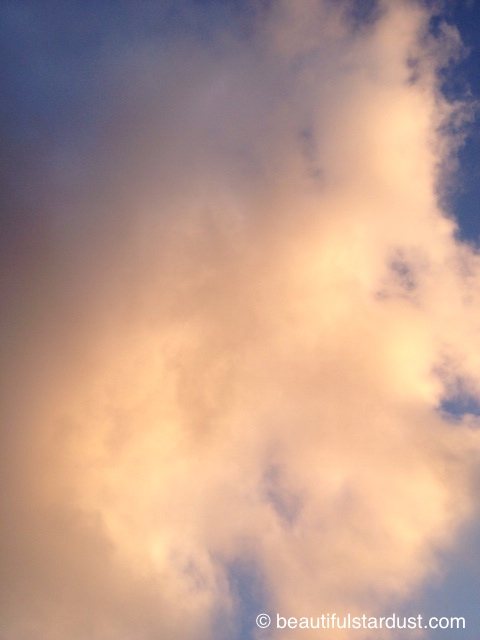 Yellow cloud, blue sky